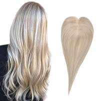 Full Shine Mono Human Hair Pieces Crown Topper Extensions 12 Inch Color 18 Ash Blonde Highlight 613 Blonde Clip in Natural Hairline Human Hair Toupee Crown Piece Handmade Mono Top 9.5cmX10cm