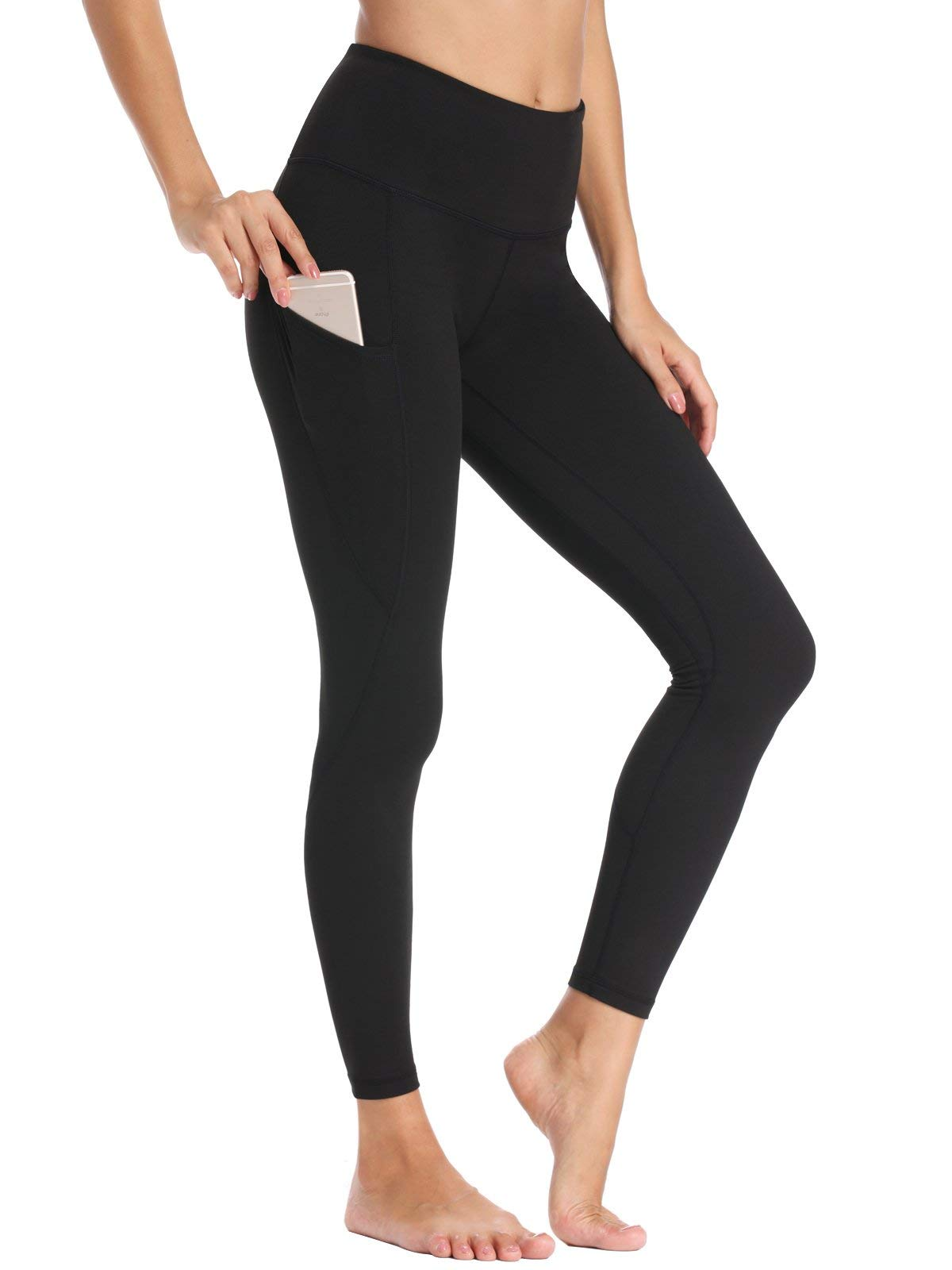 Willit Women's Fleece Lined Leggings Winter Yoga Running Leggings with Pockets High Waisted Pants Workout Thermal Tights