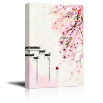wall26 Canvas Wall Art - Traditional Chinese Style Painting of Cherry Blossom in Spring - Giclee Print Gallery Wrap Modern Home Decor Ready to Hang - 16x24 inches