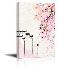 wall26 Canvas Wall Art - Traditional Chinese Style Painting of Cherry Blossom in Spring - Giclee Print Gallery Wrap Modern Home Decor Ready to Hang - 24x36 inches