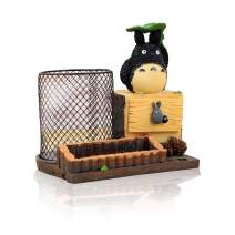 Lependor Adorable Stump-Shaped My Neighbor Totoro Pen Holder Cute Japanese Animation Pen Container - with Lotus Leaf