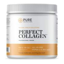 Pure Hydrolyzed Multi Collagen Peptides Protein Powder Supplement - Types I, II, III, V, X - 5 Types of Grass Fed, Wild Caught Food Sourced Collagen - 16 oz Pouch - Flavorless