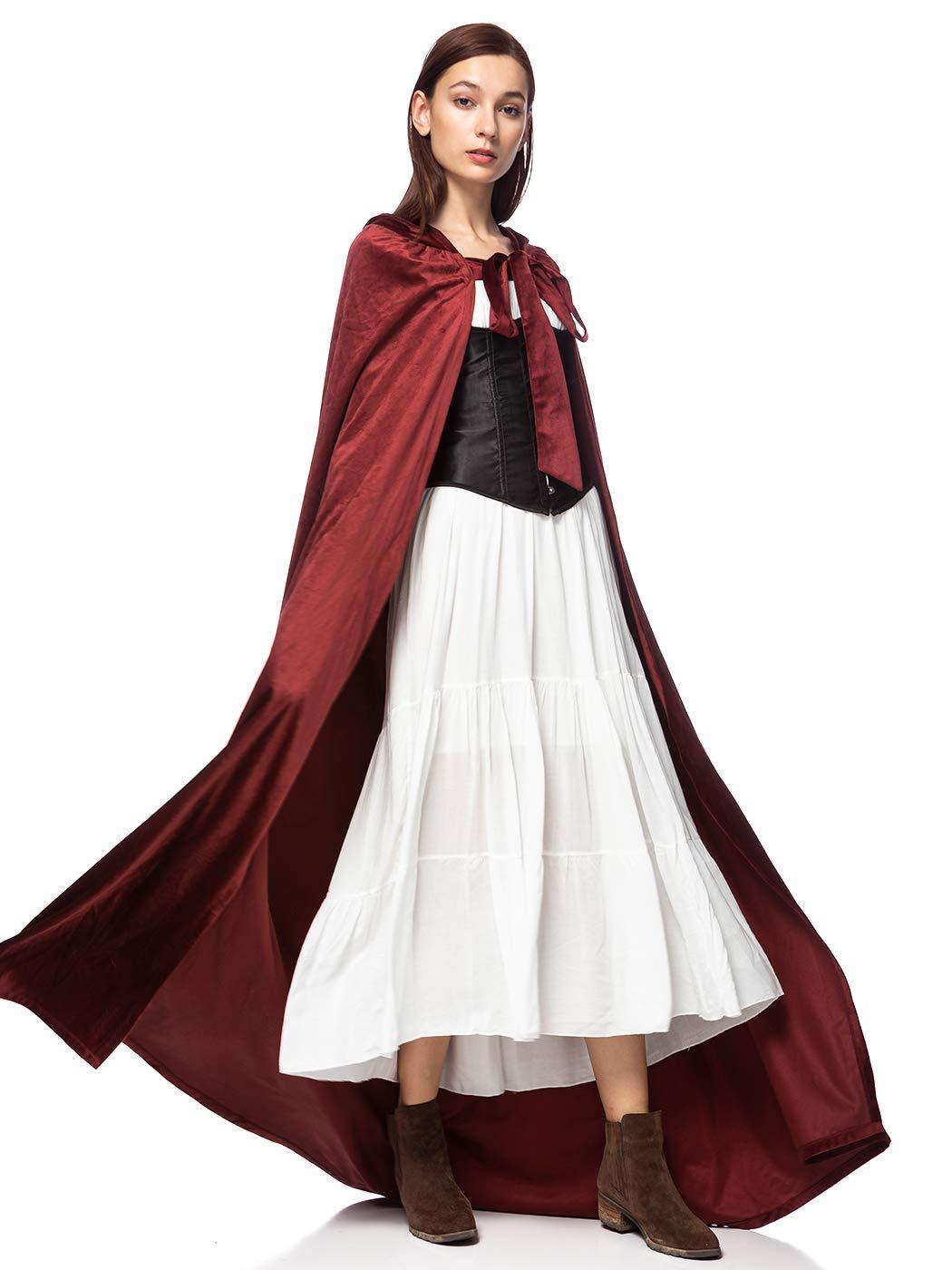 Anna-Kaci Floor Length Suede Velvet Tie Hood Medieval Princess Robe Cloak Cape
