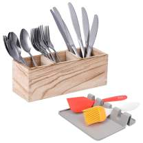 Utensil Caddy, Wood Silverware Caddy Holder, spoon and fork holder with 3 Spacious Compartments, Add a Silicone Utensil Rest