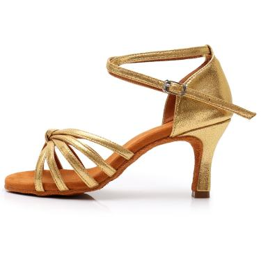 None Branded Dancing Sandals Soft-Sole Knitted Straps Latin Dance Peep-Toe Satin Heels Shoes for Ballroom