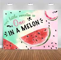 FH 7x5ft Watermelon Themed Party Backdrop Our Little Sweetie is One in A Melon Photography Background Summer Green Pink Kids Girl Fiest 1st Birthday Party Large Banner Supplies Photobooth Props