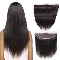 """Straight Hair Lace Frontal Closure 13x4 Ear To Ear 12"""" Unprocessed Top Hair Extensions Free Part Brazilian Bleached Knots With Baby Hair Nature Color Best Real Human Hair"""