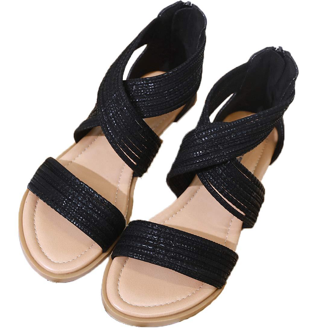 Yozai Womens Summer Crisscross Ankle Strap Flat Sandals Shoes