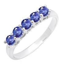 Dazzlingrock Collection 14K Round 3.6 MM Each Gemstone 5 Stone Ladies Anniversary Wedding Band Ring, White Gold