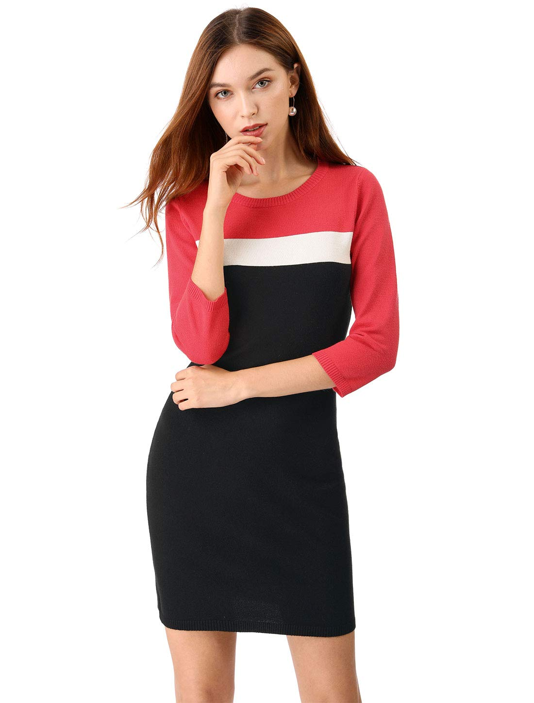 Allegra K Women's Crew Neck Color Block Stretched Bodycon Knitted Sweater Dress