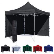Vispronet 10x10 Canopy Tent and 2 Sidewalls – Economy Edition – Durable Steel Frame, Water-Resistant Canopy Top and Side Wall – Bonus Wheeled Canopy Bag and Premium Stake Kit (Black)