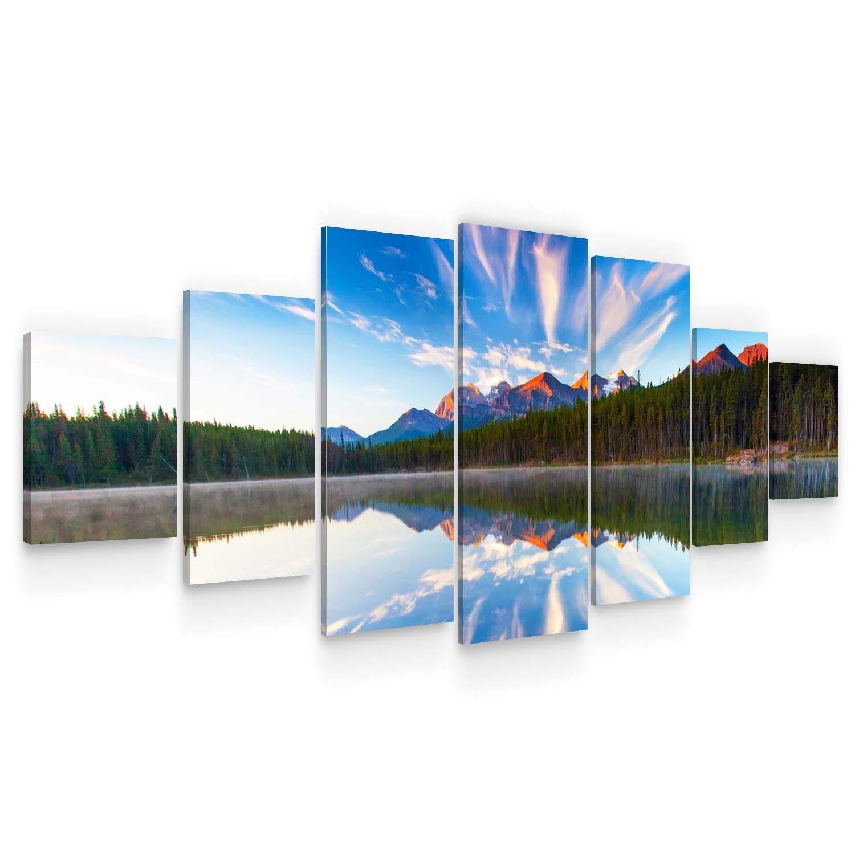 "STARTONIGHT Huge Canvas Wall Art - Mountain Lake Reflection - Home Decor - Dual View Surprise Artwork Modern Framed Wall Art Set of 7 Panels Total 40"" x 95"""