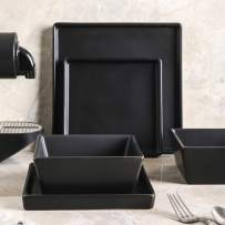 Stone lain Grace Square Stoneware Dinnerware Set, 12 Piece Service For 4, Black