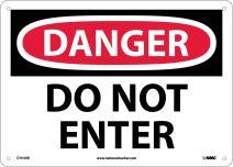 NMC D104AB DANGER - DO NOT ENTER Signage - 14in. x 10in. Aluminum Danger Sign, Black\White Text on White\Red Base