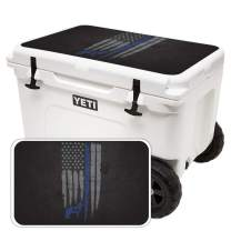 MightySkins (Cooler Not Included) Skin Compatible with Yeti Tundra Haul Cooler Lid - Thin Blue Line K9 | Protective, Durable, and Unique Vinyl Decal wrap Cover | Easy to Apply | Made in The USA