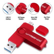 Wansenda OTG USB Flash Drive 2 in 1 Micro Port & 3.0 USB Memory Stick 32GB High Speed Pen Drive for Android/PC/Mac (32GB, Red)