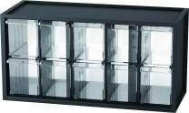 livinbox 10 Drawer Plastic Parts Storage Hardware and Craft Cabinet, Desktop Hardware Storage Organizer Multi Use Compartment Container– Black, A9-510, 14.9 x 6.1 x 7.4 Inch