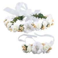 Ocharzy Adjustable Wedding Flower Headband Garland with Floral Wrist Band Hair Wreath Crown Decoration (Cream)