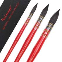 Dainayw 3 PCS Professional Watercolor Paint Brushes, Mop Round Squirrel Hair Paint Brush Set for Art Painting, Gouache, Artist Quality Supplies Red Handle