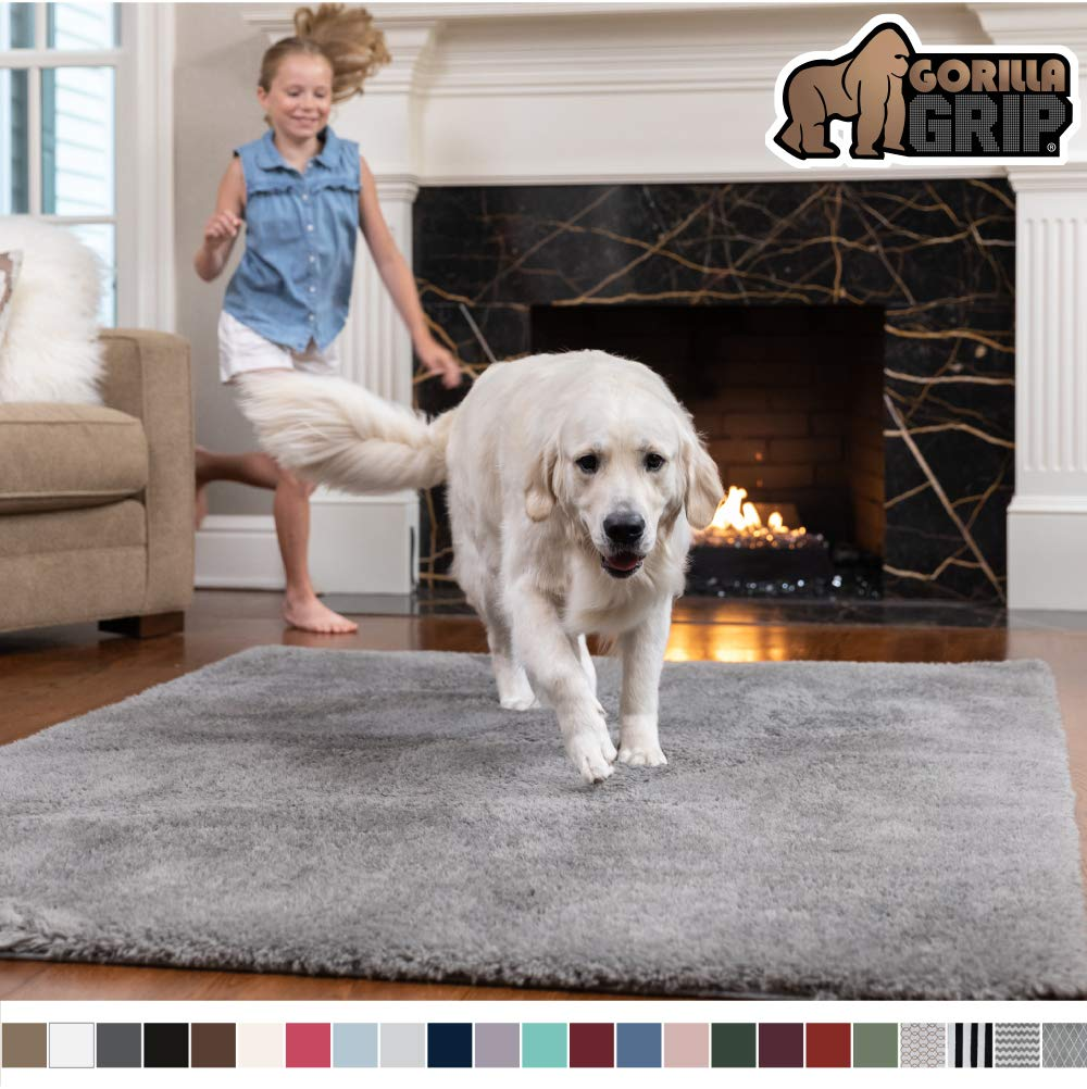 GORILLA GRIP Original Faux-Chinchilla Area Rug, 6x9 Feet, Super Soft and Cozy High Pile Washable Carpet, Modern Rugs for Floor, Luxury Shag Carpets for Home, Nursery, Bed and Living Room, Dark Gray