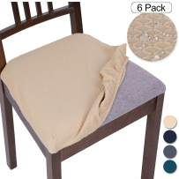 SearchI Stretch Spandex Jacquard Dining Room Chair Seat Covers, Removable Water Repellent Chair Seat Cushion Slipcovers for Dining Room Kitchen, Anti-Dust & Machine Washable - Set of 6, Pale Yellow