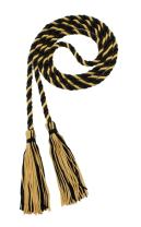 Honor Cord - BLACK/ORIENTAL GOLD - Every School Color Available - Made in USA - By Tassel Depot