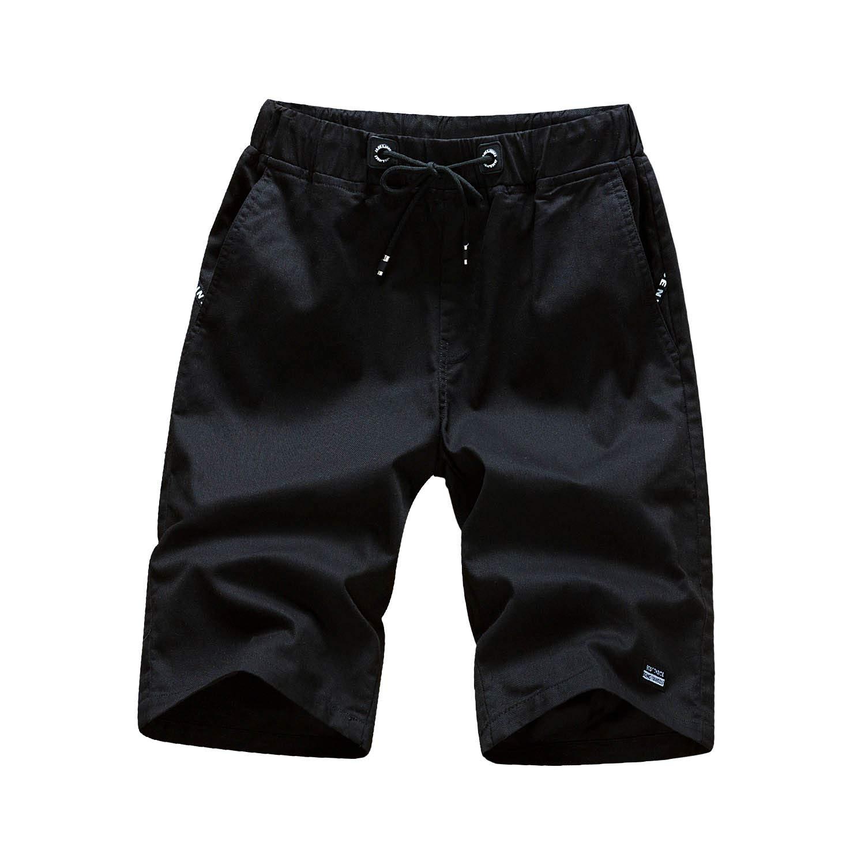 Pdbokew Men's Casual Cotton Flat Front Chino Short Pants