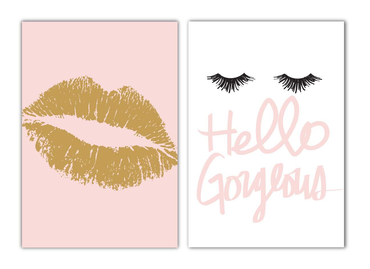 Designs by Maria Inc. Set of 2 Fashionista Prints (Unframed) Lips & Lashes Wall Art Makeup Bathroom Decor (11x17) (Option 3)