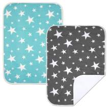 PEKITAS 2 Pack Waterproof Diaper Changing Pads Travel Friendly Super Soft Fabric Size 23 X 29.5 inches (Large,1-3 Year),Stars Series