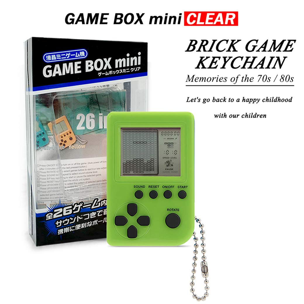 KincoBa Brick Game Keychain,with Hanging Chain,Mini Size,Bright Colors,Built-in 26 Brick Game Matches,Best Birthday Festival Gift for 4-12 Year Children (Green)