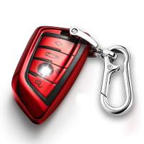 QBUC for BMW Key Fob Cover Full Protective Case, Key Fob Case for BMW X1 /X3 /X5 /X6 and for BMW Series 1/2 /5/7 Soft TPU Anti-dust Case Shell Keyless Remote Control (Red)
