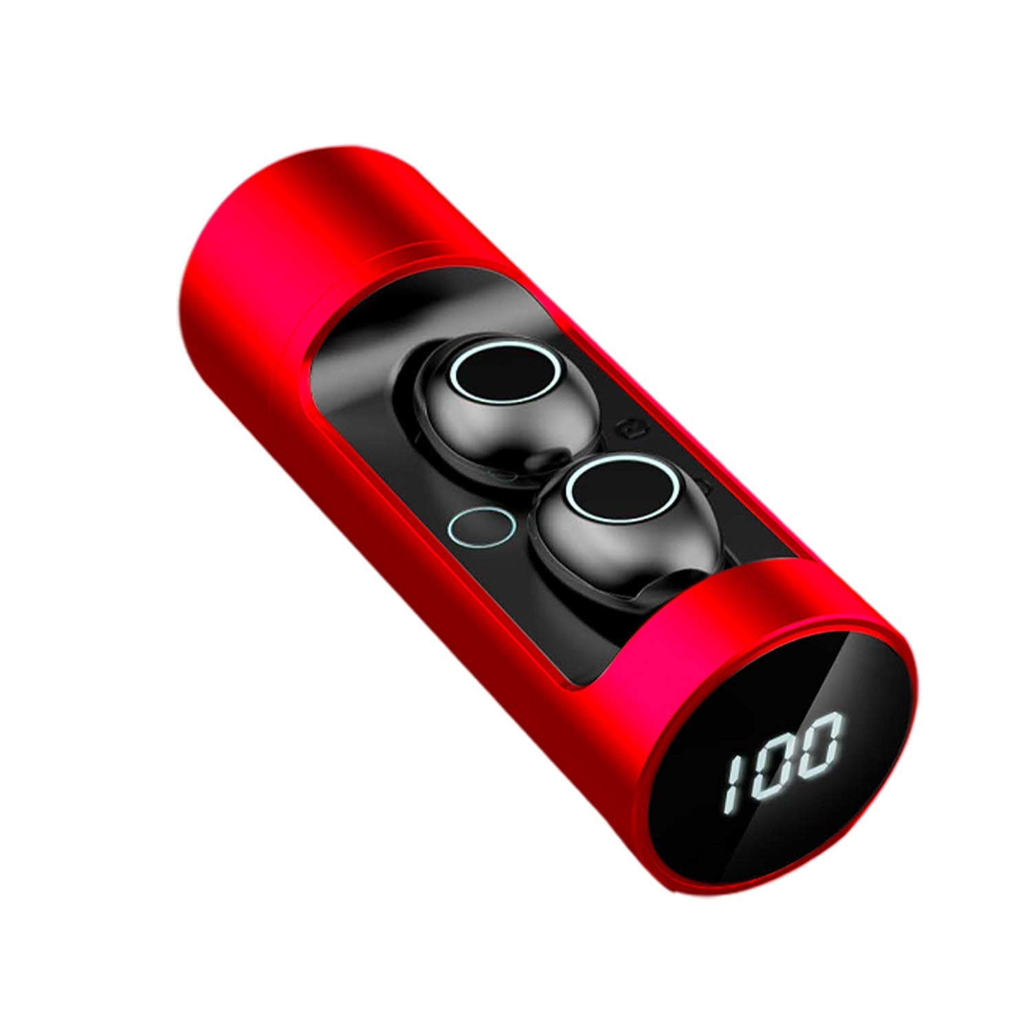 True Wireless Earbuds,Bluetooth 5.0 Stereo Sport Headsets Digital Display Rotatable Battery Case (Red)