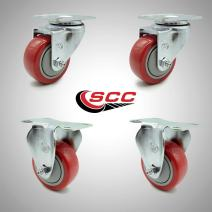 """Service Caster – 3"""" Red Polyurethane Wheel – 2 Stainless Steel Swivel and 2 Stainless Steel Rigid Casters – Set of 4"""