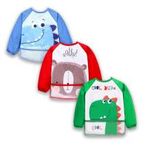 3 Pcs Long Sleeved Bib Set | Baby Waterproof Bibs with pocket Bundle | Toddler Bib with Sleeves and Crumb Catcher | Play Smock Apron - Pack of 3 | 12-24 Months(green dinosaur, red bear, blue dinosaur)