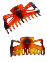 ACCGLORY Banana Clips For Long Hair Large Plastic Hair Clips for Women Strong Hold for Thick Hair (Butterfly-Amber+Brown)