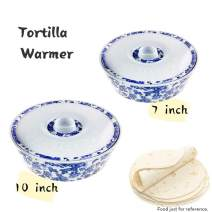 ARC USA, 6519F Tortilla Warmer, 100% Melamine(Not Porcelain), One large & One small combination, FDA Safe, Pancake Keeper Food Container, Keeping Waffles Tacos Warm (White with blue floral design)