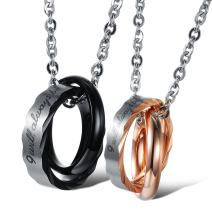 Fate Love Couple Necklace His and Hers Matching Pendants Necklace Set Stainless Steel Pendant Necklace with 20 Inch Link Chain