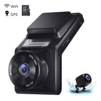 """AKASO 2K Dash Cam Front and Rear 1080P Dual Dash Cam with 32 GB TF Card, 2"""" IPS Screen, External GPS, 170°Wide Angle, Wi-Fi, Loop Recording, Night Vision, Parking Mode, G-Sensor"""