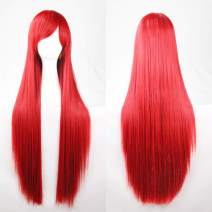 "Wigood 32"" Cosplay Wig Red Long Straight Anime Costume Party Wigs with Free Wig Cap for Women(Red)…"