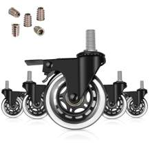 """Hirate 3 inch Swivel Stem Casters with Locking Brake Threaded 3/8"""" for Office Chairs Furniture and Shelves, Heavy Duty Caster Wheels Replacement Pack of 5 with 3/8"""" Thread Screw Inserts"""