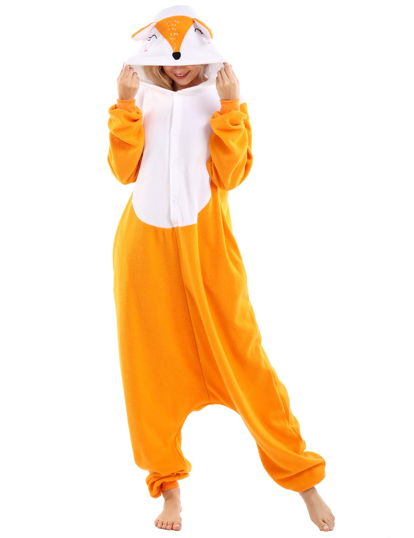 Fox Onesies Adult Pajamas Plus One Piece Cosplay Animal Costume for Women Men