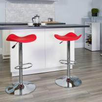 Flash Furniture Contemporary Red Vinyl Adjustable Height Barstool with Wavy Seat and Chrome Base