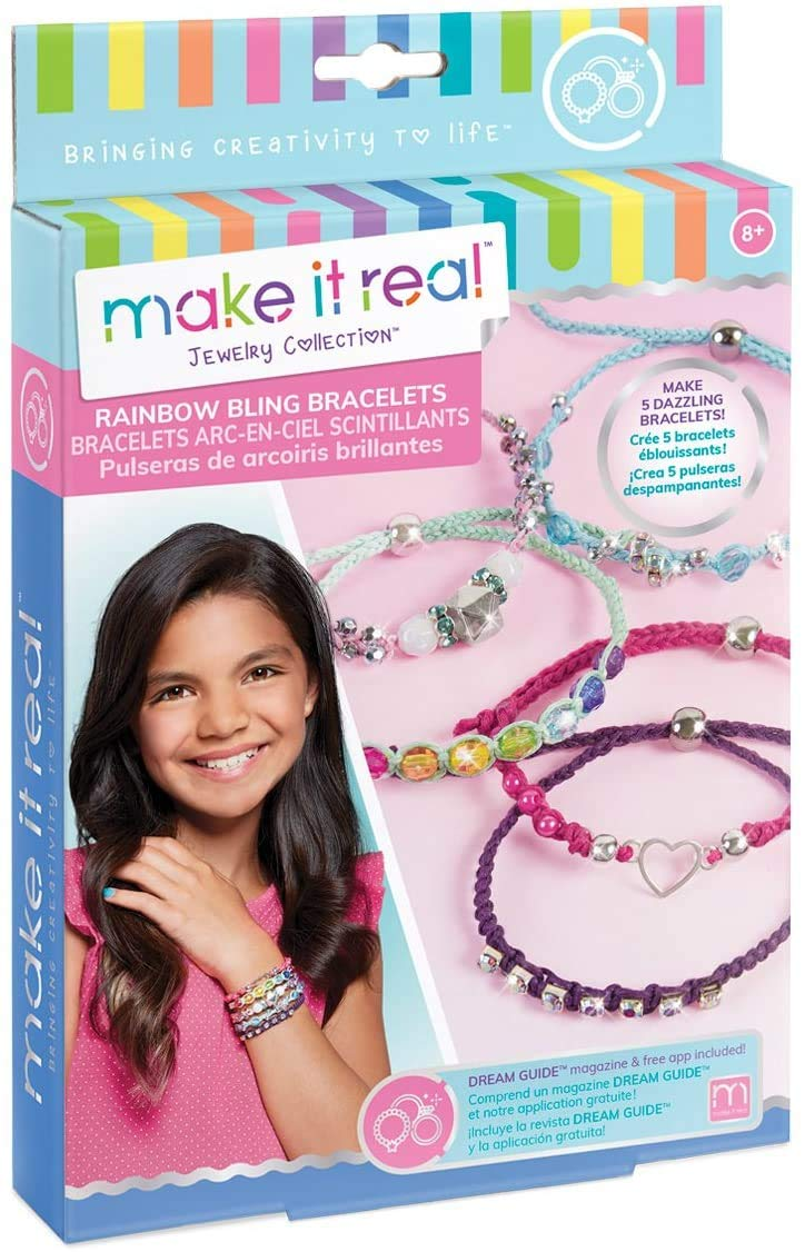 Make It Real - Rainbow Bling Bracelets. DIY Bead and Knot Bracelet Making Kit for Girls. Arts and Crafts Kit to Design and Create Unique Tween Knot Bracelets with Wax Cord, Beads, Charms and Gem Links
