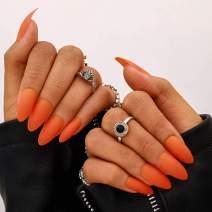 Campsis Matte False Nails Sharp Fake Nails Full Cover Nails Art Tips Set for Women and Girls 24PCS (Orange)