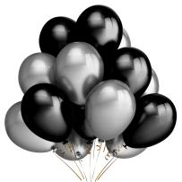 LeeSky 100Pcs 12 Inch 2.8 g/pc Thicken Round Pearlescent Silver & Black Latex Balloons,Bachelorette Wedding Graduation Hawaii Baby Shower Birthday Party Decoration Supplies