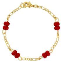 "18k Gold Plated Red Bracelet for Baby Evil Eye Protection Newborn 4.5"""