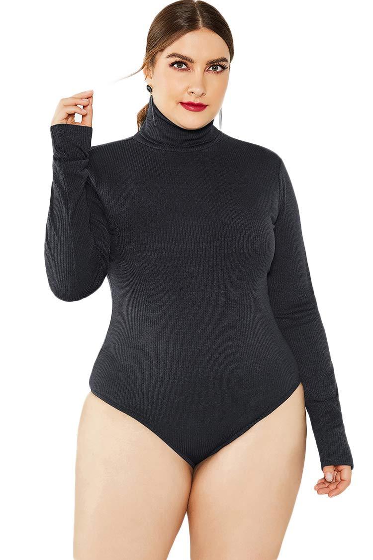 Plus Size Women Bodysuit Shirt Zip Up Scoop Neck Long Sleeve Top Leotard Thong