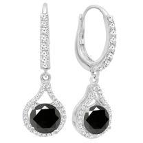 Dazzlingrock Collection 14K 5.5 MM Each Round Gemstone & White Diamond Ladies Dangling Drop Earrings, White Gold