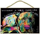 "SJT ENTERPRISES, INC. Pitbull - Without a Word, There Lies a Conversation in his Eyes 7"" x 10.5"" Wood Plaque Sign Featuring The Artwork of Dean Russo (SJT78213)"