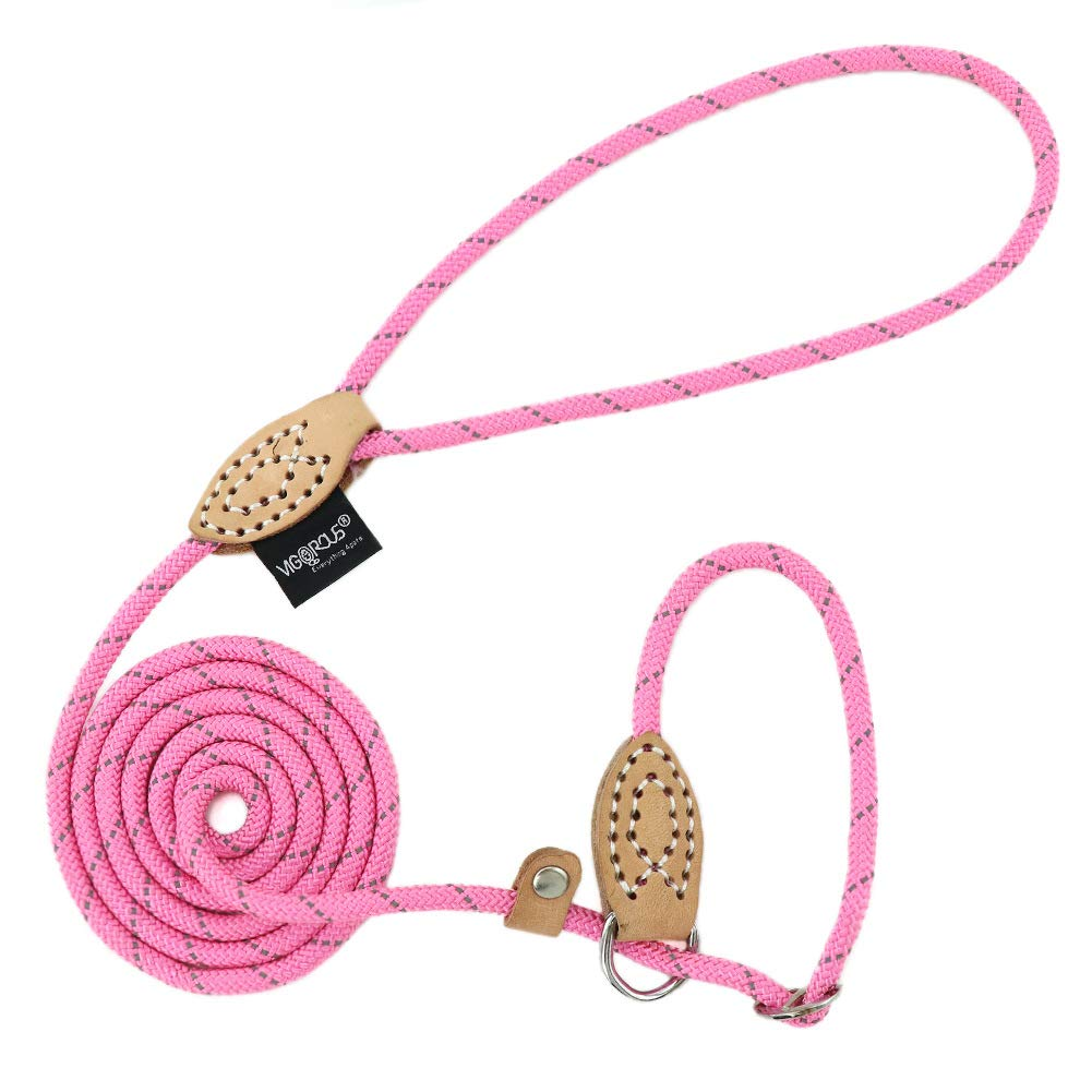Grand Line Reflective Rope Slip Training Lead Pets Leash for Small, Medium, Large and Extra Heavy Dogs and Cats - 5 Ft Long